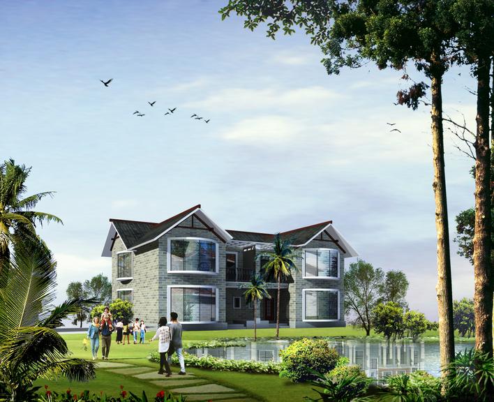 海南滨海小区某三层独栋别墅建筑设计平面方案