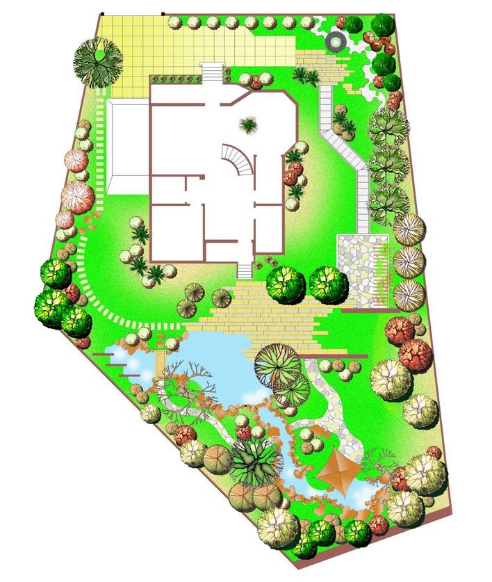 小花园设计效果图 小花坛设计 别墅入户花园设计 别墅花园假山设计