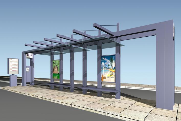 园林设计图 公交站台