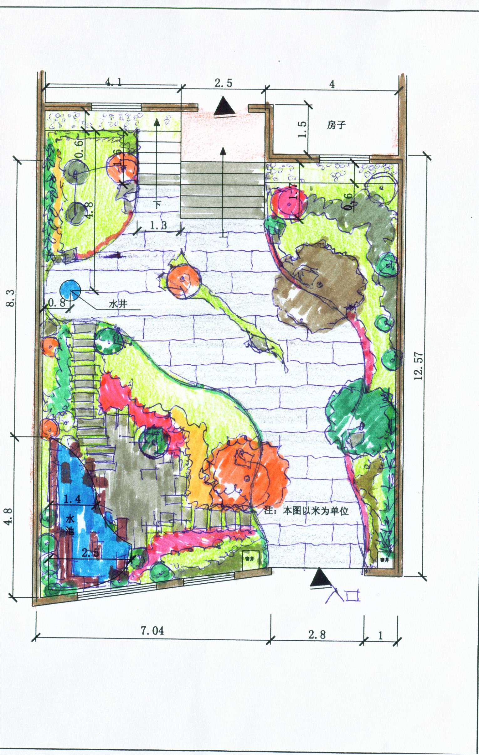 园林吧手绘平面设计图 园林手绘平面图 园林设计平