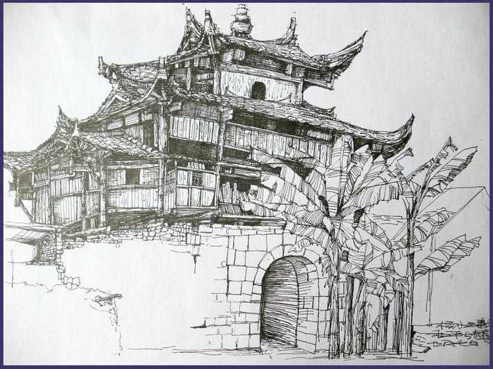 写生作业    这是我06年在和平古镇写生时画的   相关专题:建筑写生