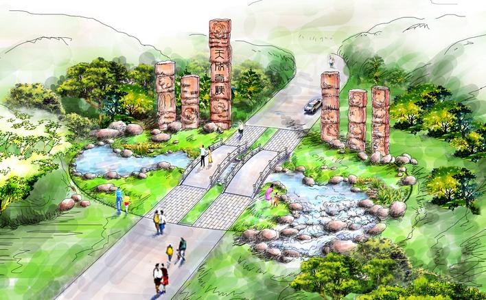 景观石手绘公共卫生间手绘图小区入口景观手绘效果图
