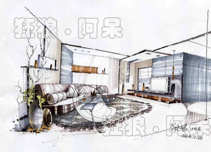 室内手绘效果图 室内设计手绘效