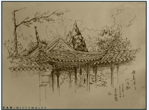 苏州园林钢笔画_cad图纸下载-土木在线