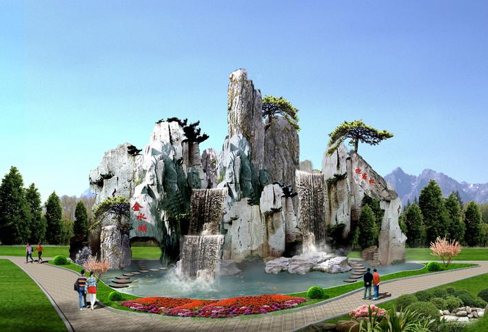 园林景观假山石手绘