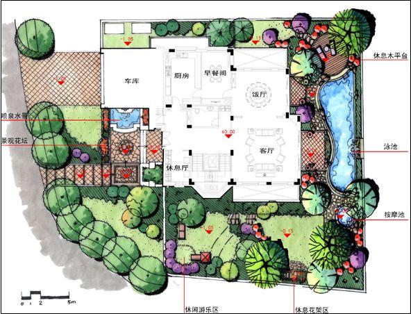 图纸 园林设计图 庭院绿化图;     :此图为北京一别墅绿化平面效果图