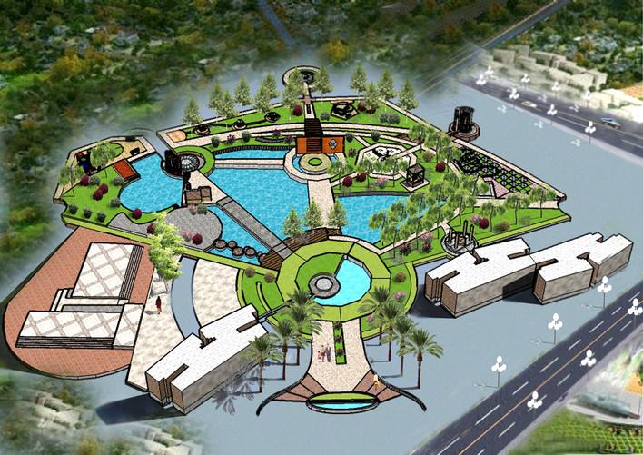 广场景观小品效果图 广场景观图 广场景观平面图cad 广场景观设计cad