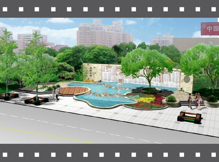 小区景观水池手绘效果图