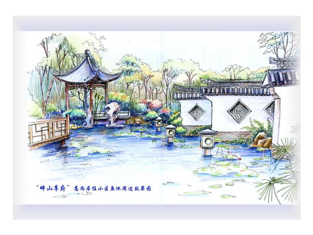 江南园林鸟瞰图手绘