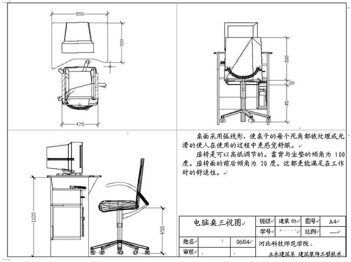 创意椅子三视图