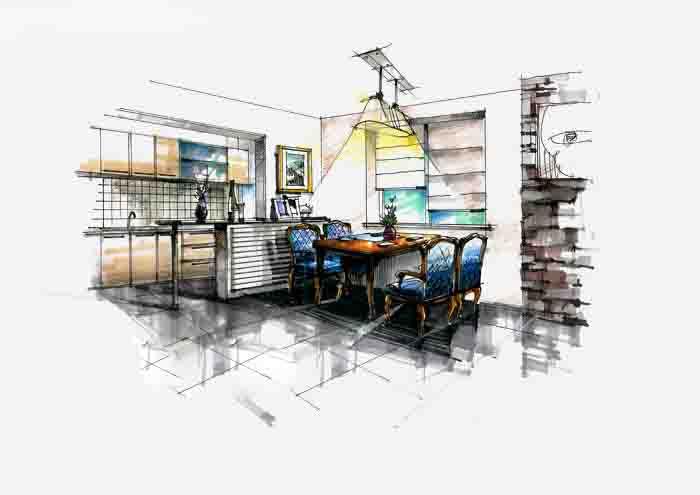 餐厅手绘图,采用马克笔,大面积的铺色,灯光效果强烈.