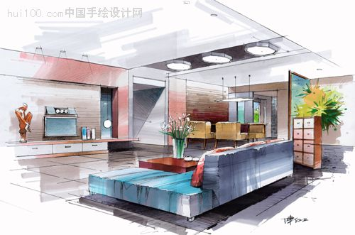 陈红卫手绘效果图居室; 室内彩铅手绘图片; 起居室手绘效果图