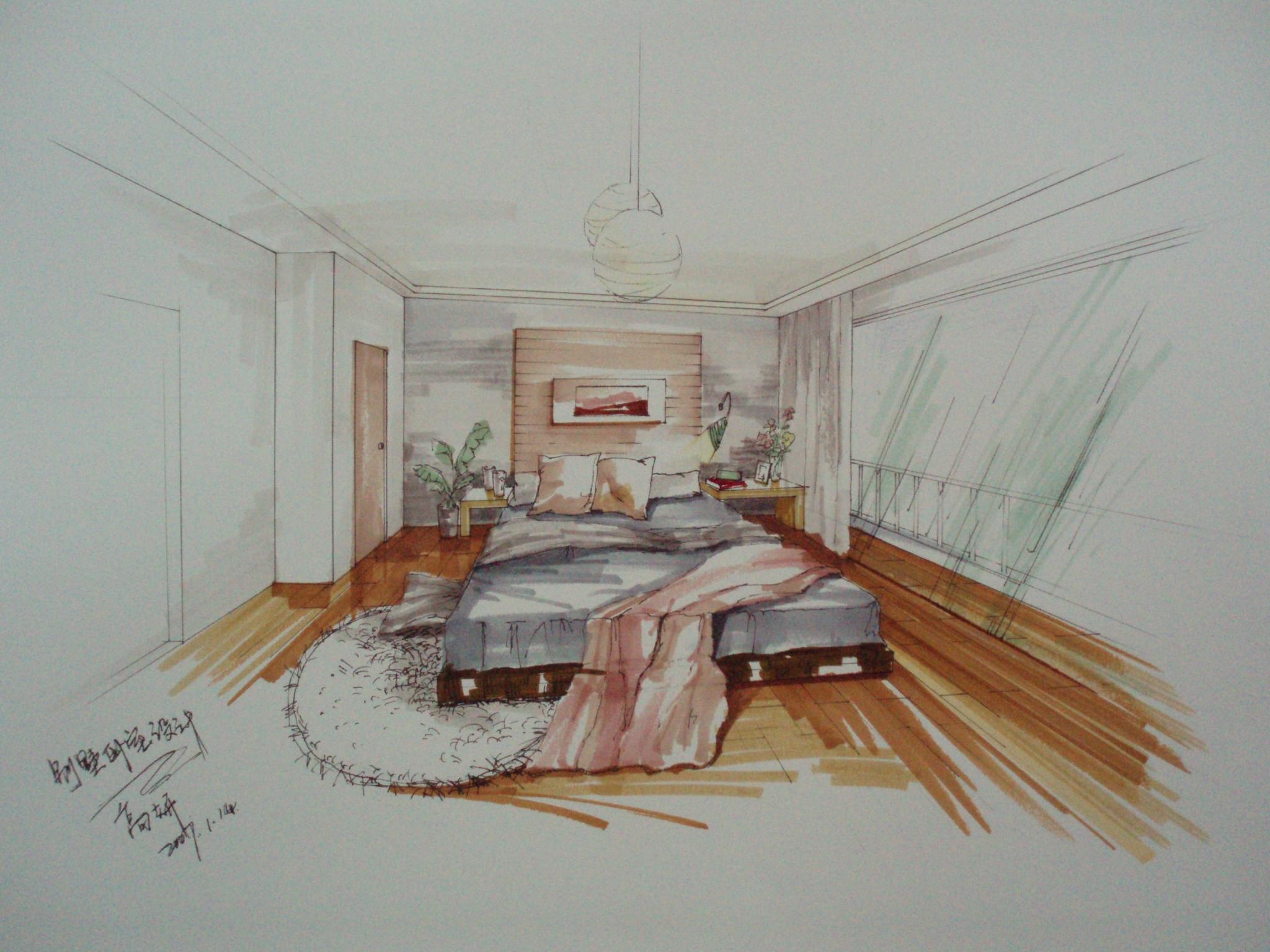 手绘卧室设计图 室内手绘卧室立面图 室内卧室手绘平面图 儿童卧室