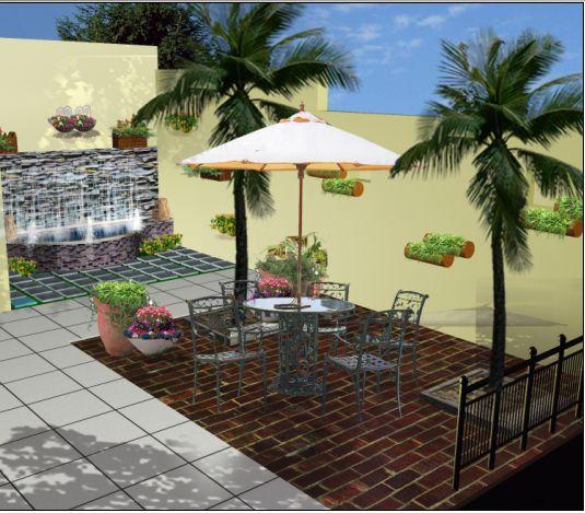 庭院设计效果图 庭院大门效果图