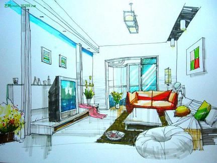 室内手绘效果图 室内设计手绘效果图 咖啡厅室内手绘效果图 咖啡厅