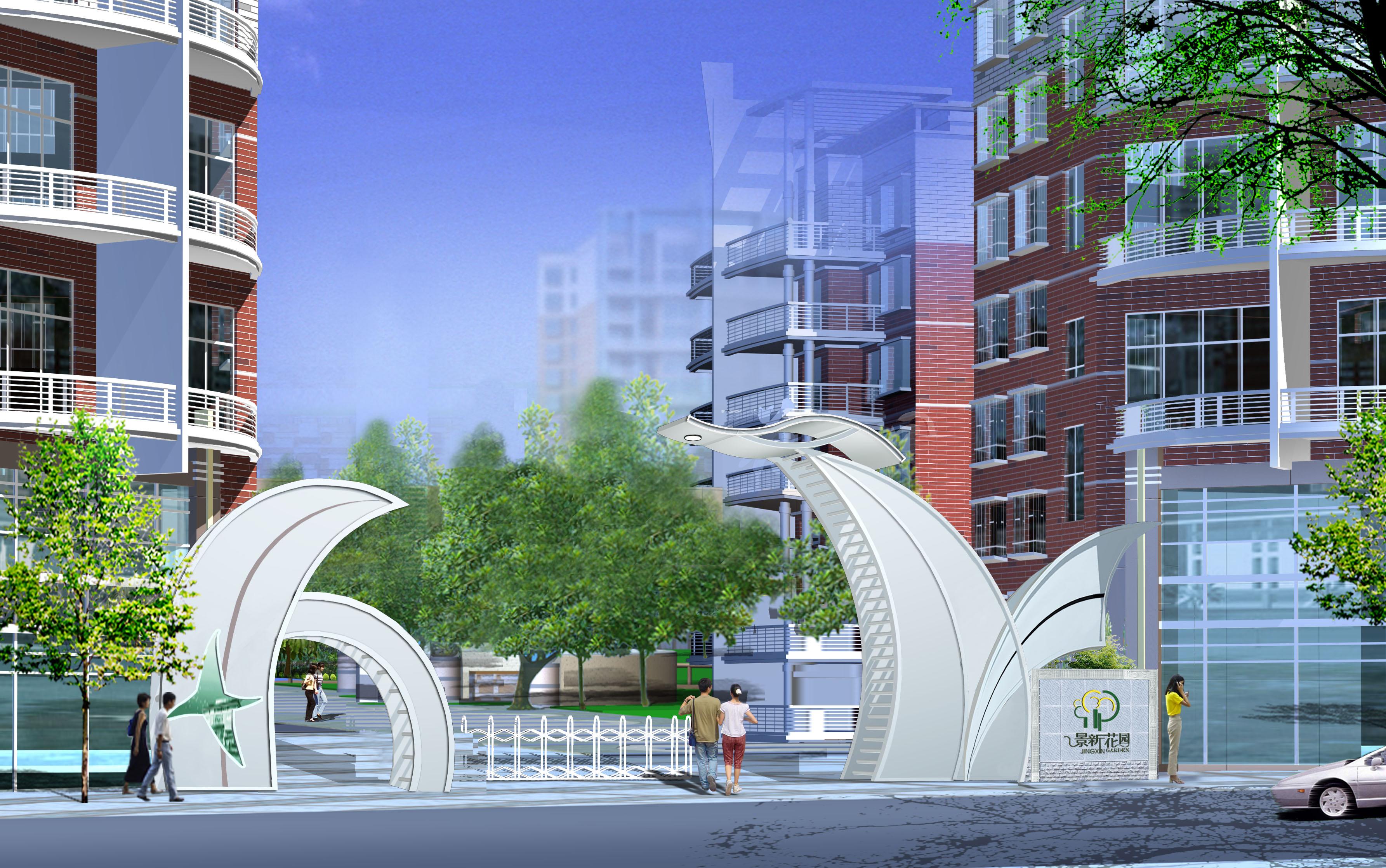 鋼結構小區大門設計 鋼結構大門設計效果圖 鋼結構小區大門效果圖  所