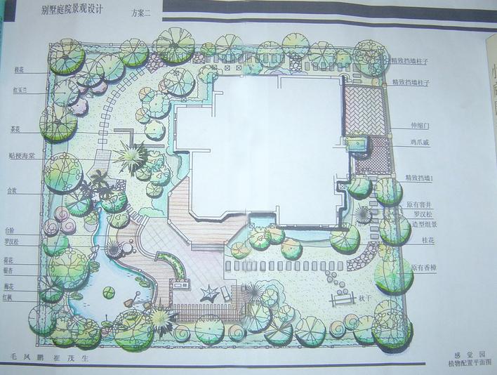 别墅屋顶图纸cad庭院经典柱子别墅门口图片