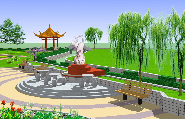 度假村设计效果图 公园效果图 老年活动中心效果图 四角亭子效果图