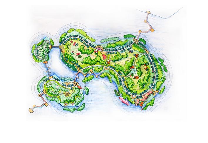 湿地岛屿鸟瞰手绘