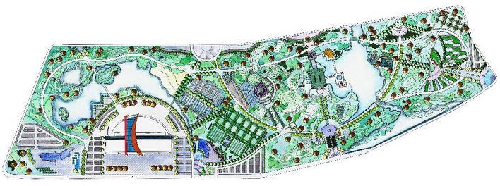 手绘体育公园平面图
