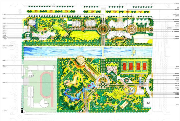 广场景观平面 学校广场景观设计