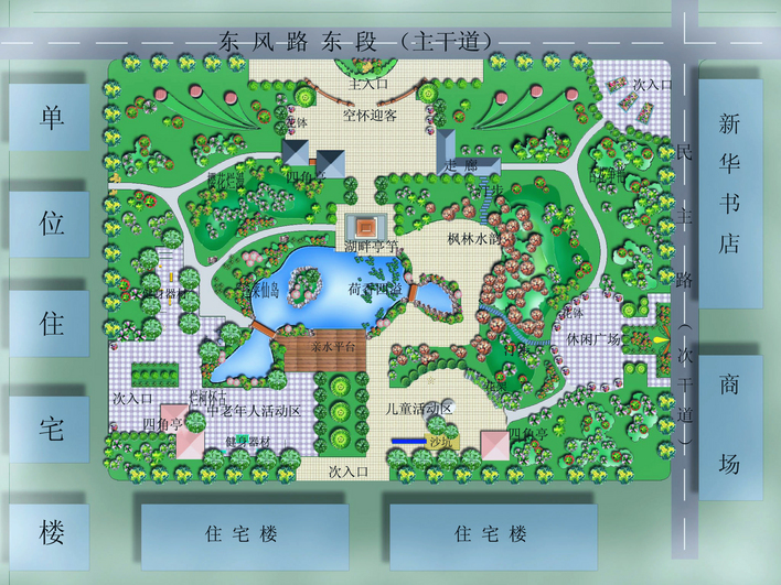 大连某校园小游园景观 设计 方案总 平面 图 小游园 ...