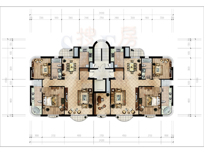 128平方米户型图(非cad图)