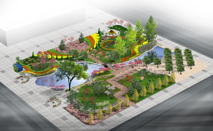 图纸 园林设计图 景观规划设计 公园及游园景观规划设计图 小游园鸟瞰