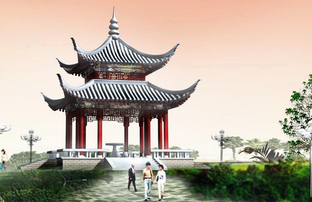 立面图,结构图,配筋图) 巴厘岛特色景观亭,园林观景亭施工图 泰式风