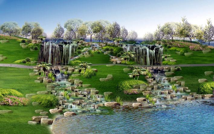 水景效果图  所属分类:假山置石 小区cad平面图 园林设计图