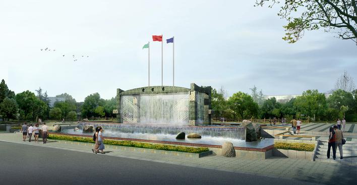 图纸 园林设计图 小品及配套设施 雕塑景墙设计图 入口景观水景雕塑