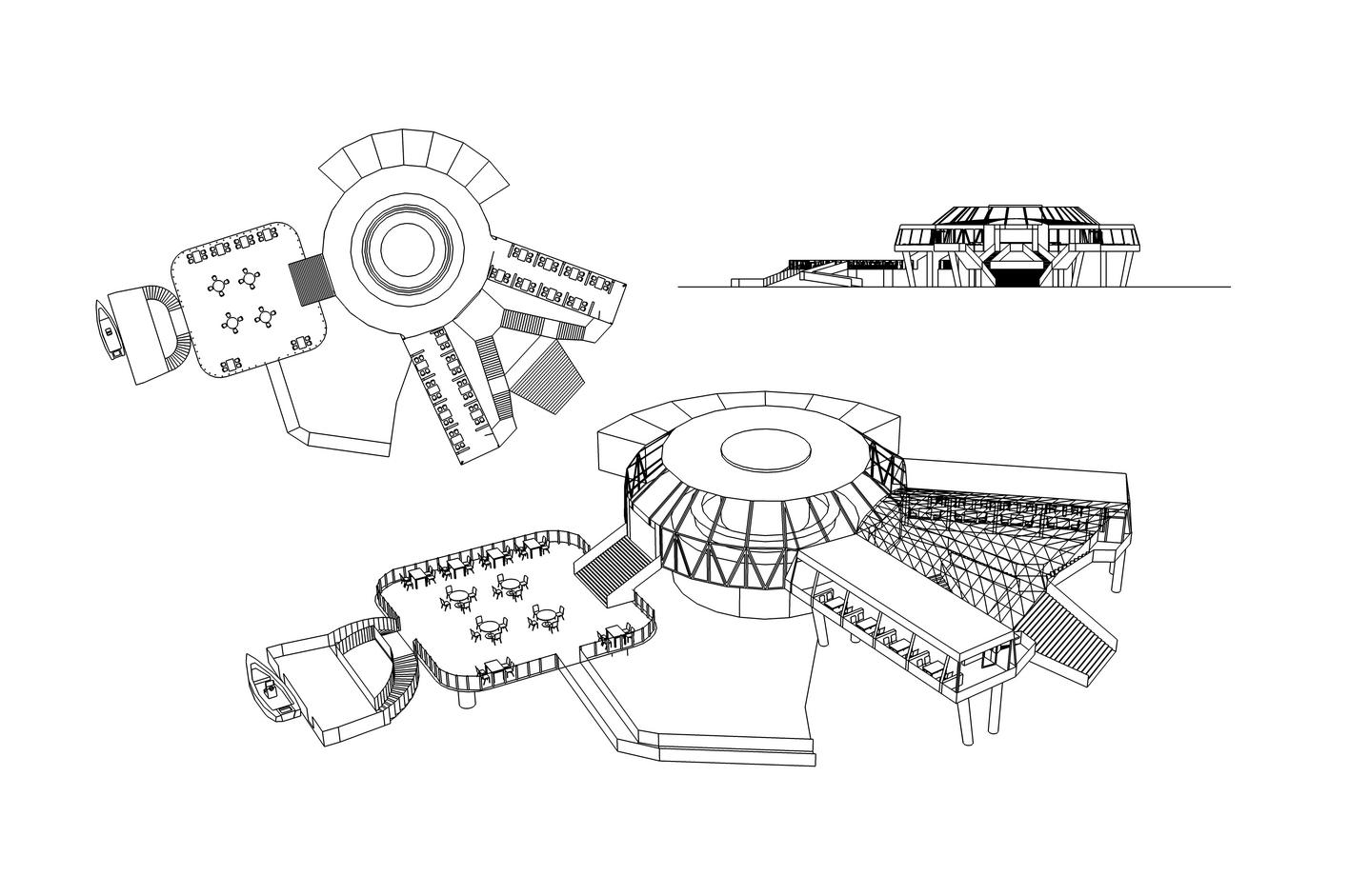 公园茶室设计效果图; 茶室设计平面图; 公园茶室设计图