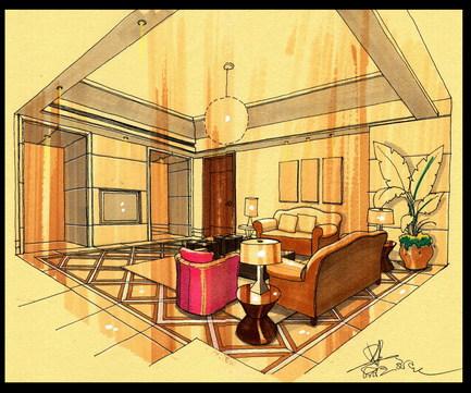 新古典客厅手绘效果图