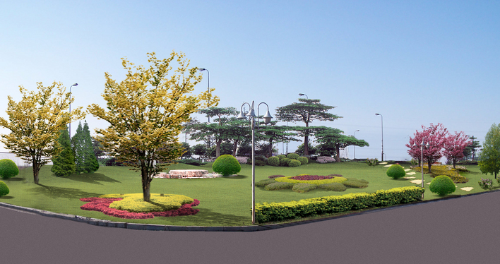 图纸 园林设计图 某园区街角绿化设计效果图  投稿网友:ice19861226