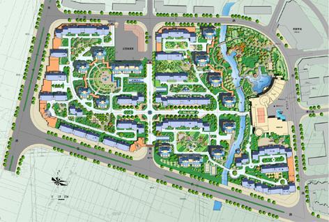 小区绿化景观彩平图