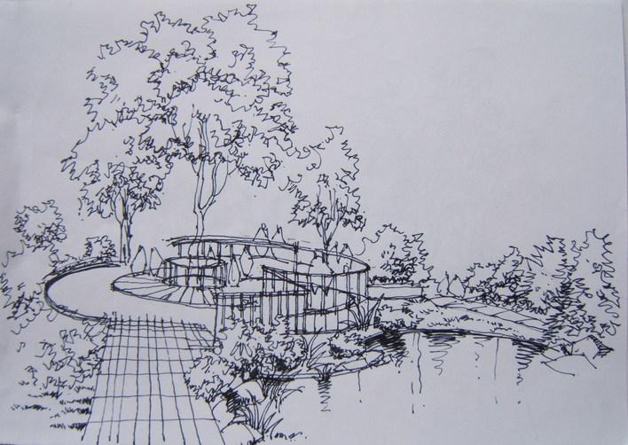 手绘牌坊手绘总图手绘立面手绘亭子园林手绘景观手绘