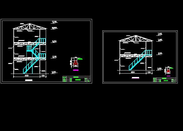 某地三套活动房钢架结构设计施工图 工人宿舍彩钢板活动房平,立,剖面