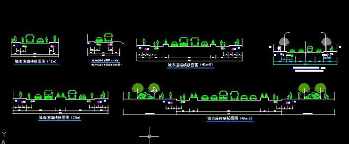 城市道路横断面设计(规划用)图片