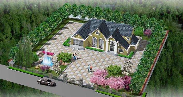 农村别墅绿化效果图 欧式别墅绿化效果图 别墅庭院绿化设计效果图