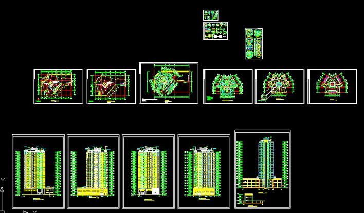 山东某制药厂小高层职工宿舍楼结构施工图 某高层框架核心筒结构写字