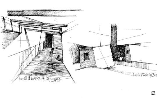 手绘建筑画