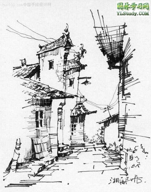 黑白线描建筑画-经典建筑画