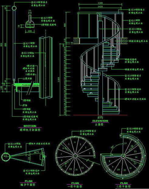 楼梯与栏杆cad详细施工图下载15款