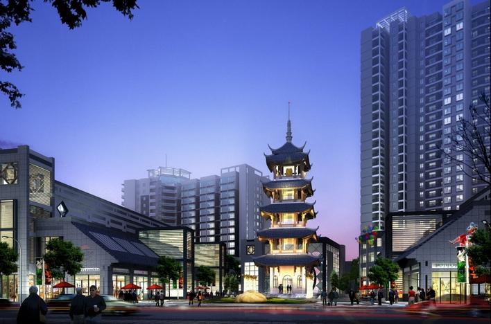效果图中式建筑效果图建筑大门效果图大门建筑效果图厂房建筑效果图