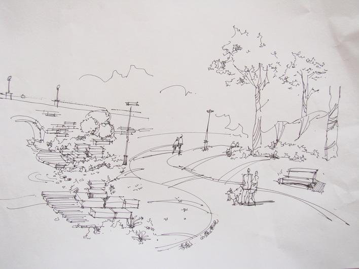 园林小路手绘线稿