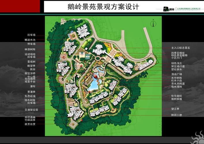 平面图 青岛某居住小区园林景观绿化规划总平面图