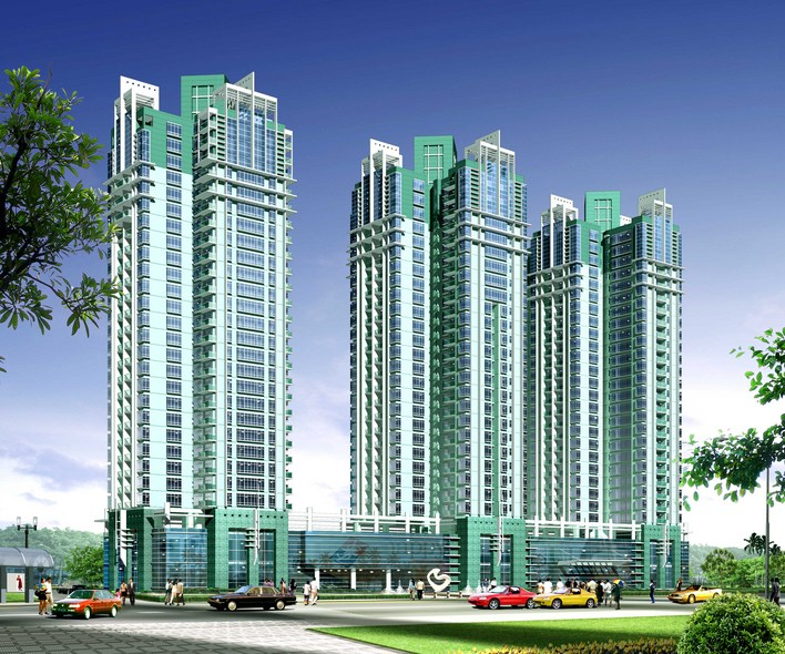 点式高层住宅楼方案,包括效果图,cad平立面图