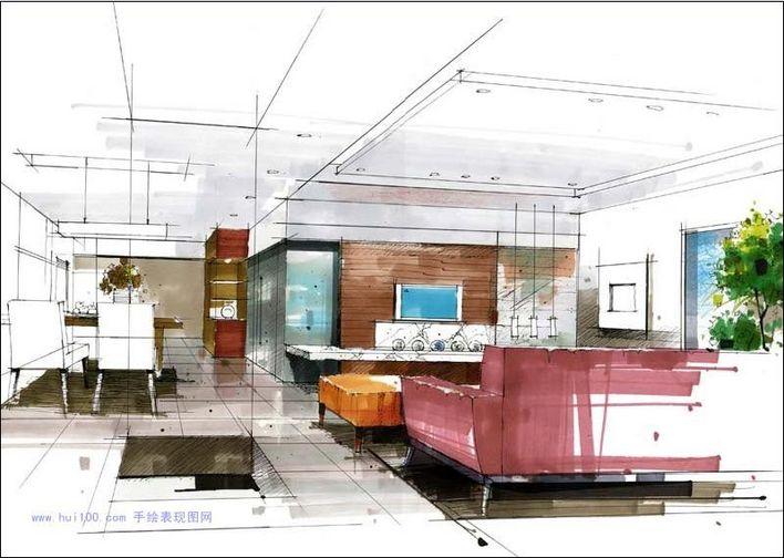 建筑快题设计手绘图 建筑设计手绘图 大堂手绘图 建筑设计手绘图纸 茶