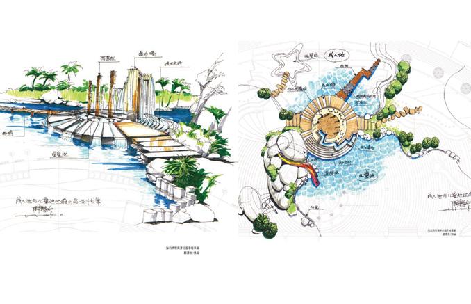 一套优秀的手绘作品,包括一个水景,几个屋顶花园的设计,是学习庭院