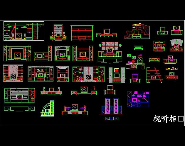 CAD图库 电视柜平面 立面